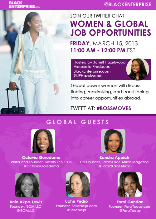 Black Enterprise Magazine & Face2face Magazine's Twitter Chat today at 11 am: Global Jobs 4 Women!
